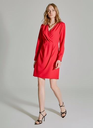 People By Fabrika Kruvaze Yaka Elbise Kırmızı